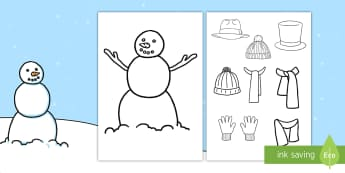 Snowman Clothes Activity - Design Your Own Winter Clothes - Winter, clothes, colouring, fine motor skills, poster, worksheet, v