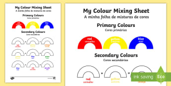 Colour Mixing Worksheet / Activity Sheet portuguese translation - English/Portuguese - Colour Mixing Worksheet / Activity Sheet - colour, mixing, activity, sheet, colourmixingn, worksheet, eal