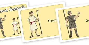 David and Goliath Visual Aids - David and Goliath, David, King Saul, Goliath, visual aid, aids, Philistine army, Israelite, sling, stones, sling and stones, death, kill, small, giant, clever