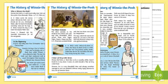 The History of Winnie-the-Pooh Differentiated Reading Comprehension Activity