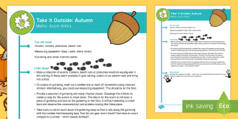 EYFS Take It Outside: Autumn Maths - Acorn Antics Activity - Little Acorns, twinkl originals, fiction, Outdoor and Woodland Learning, Wonder Investigate Learn Di
