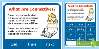 What are connectives? Display Poster - new, Primary, language, curriculum, Connectives, Irish