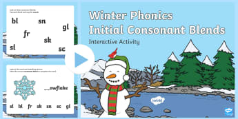 Winter Initial Consonant Blends Interactive PowerPoint - Winter, phonics, consonant blends