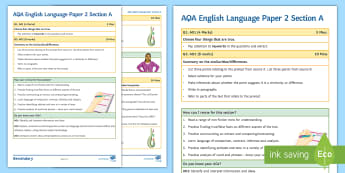 AQA English Language Paper 2 Section A Support Guide - AQA, paper 2, Section A, compare, Contrast, Exam skills, Exam practice, GCSE English, English Langua