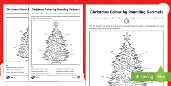 Christmas Themed Colour by Rounding Decimals Differentiated Activity Sheets - decimals, decimal number, rounding, whole number, one decimal place, 1 decimal place, tenths, worksh