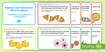 Addition and Subtraction to 100 Word Problem Challenge Cards English/Italian - Addition and Subtraction to 100 Word Problem Challenge Cards, challange, +, substraction, adition, s