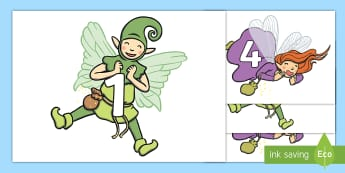 Numbers 0-20 on Fairies Display Numbers - EYFS, Early Years, KS1, Key Stage 1, Maths, Mathematics, Numeracy, Numbers, Number Recognition, Fair