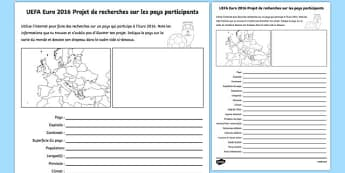 UEFA Euro 2016 Country Research French Activity Sheet - French, worksheet