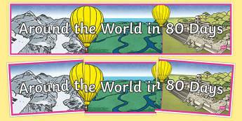 Around The World In 80 Days Display Banner - around the world in 80 days, display, banner, sign, poster, film, around the world, 80 days, journey, travel, travelling, coutnries, globe, world