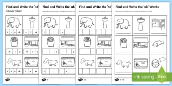Find and Write the nk Words Differentiated Activity Sheet - literacy, phonics, jolly phonics, read write inc, letters and sounds, digraphs, consonant digraphs,