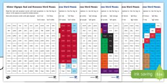 Winter Olympics Phase 5 Phonics Mosaic Activity Sheets - Korea, Sports, Decode, Blend, Digraphs, worksheet