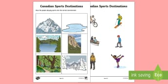 Canadian Environments and Sports Activity - Uniquely Canadian, habitat, environment, Canada, sports, geography.