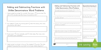 Adding and Subtracting Fractions with Unlike Denominators Word Problems Worksheet / Activity Sheet - addition, subtraction, word problems, fractions, unlike denominators, problem solving, worksheet