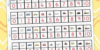 Transport Number Track 0-10 - transport, number track, number