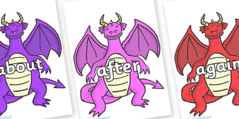 KS1 Keywords on Dragons (2) - KS1, CLL, Communication language and literacy, Display, Key words, high frequency words, foundation stage literacy, DfES Letters and Sounds, Letters and Sounds, spelling