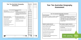 Year Two Geography  Connection to Places Assessment Tracker - KS1 Geography, Year 2 Geography, Year 2 Australian Geography, Geography Assessment, Connection to Pl