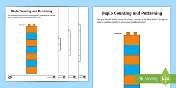 Building Brick Counting and Repeating Pattern Activity - Maths in ECE, blocks, fine motor skills, numbers, recognition, counting, numbers to 10, patterns, co