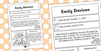 Emily Davison Significant Individual Fact Sheet - fact, sheet