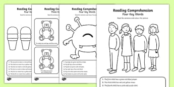 Reading Comprehension - Four Key Words Activity Sheet Pack, worksheet
