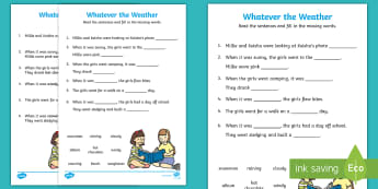 Whatever the Weather Fill in the Blanks Worksheet / Activity Sheet - Whatever, the, Weather, sun, rain, wind, snow, seasons, clothes, aistear, worksheet, literacy, oral