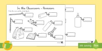 Ficha de actividad: Escribir objetos de clase en inglés (12 palabras) - Material escolar, Stationery, escuela, School, EFL, ESL, Segundo, Primaria