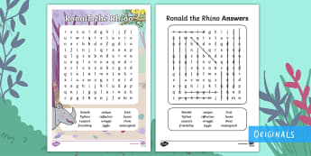 Ronald the Rhino Word Search - Find, Key words, story, Characters, Locate, twinkl fiction, javan rhino, world rhino day, rhino day,
