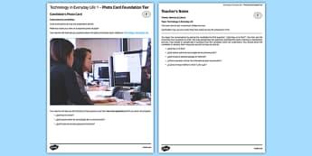 Technology in Everyday Life 1 Photo Card Foundation Tier - spanish, technology, tecnologías, tablet, mobile, computer, photo-card, foundation, speaking