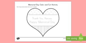 Memorial Day Color and Cut Activity Sheet - Memorial Day, Early childhood Memorial day, Pre-K Memorial day, worksheet, Kindergarten Memorial day