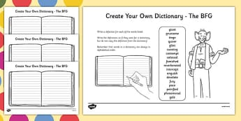 Key Vocabulary Create Your Own Dictionary to Support Teaching on The BFG