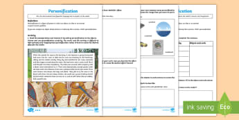 Figurative Language -  Personification Differentiated Go Respond Activity Sheets - KS2, UKS2, LKS2, Key Stage Two, Key Stage 2, Upper KS2, Lower KS2, words and vocabulary, vocabulary,