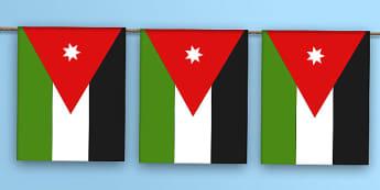 Jordan Flag Bunting - jordan flag, jordan, flag, bunting, display bunting, display