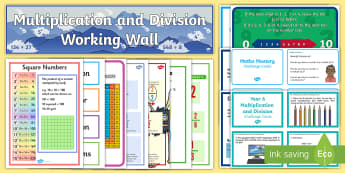 UKS2 Multiplication and Division Working Wall Display Pack - X 10 100 1000, compact, classroom display, maths display, banner, strategy,maths vocabulary, maths vocab, key words, long di