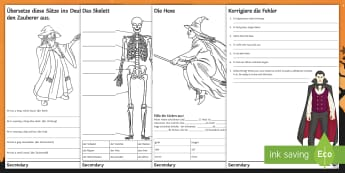 Halloween Activities Differentiated Activity Sheets German - Word search, Writing Activity, Halloween, Ks3, Grammar,German, worksheets