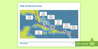 Path of Hurricane Irma Fact Sheet  - current events, map, timeline, destruction, case study