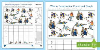 Winter Paralympics Count and Graph Worksheet / Activity Sheet - Counting Skills, Measurement and Data, snowboarding, worksheet, wheelchair curling, alpine skiing, I