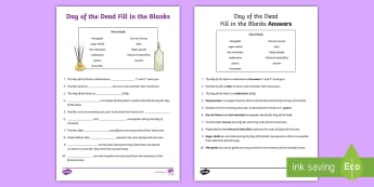 Day of the Dead Fill in the Blank Activity Sheet - dia de los muertos, activity sheet, worksheet, day of the dead activity sheet
