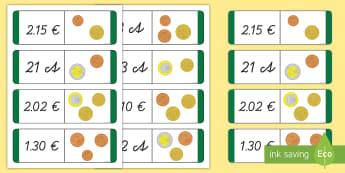 Summenpaare finden Dominokarten - Addieren, Geld, Euro, Cent, Rechnen, EU, German