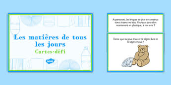 Everyday Materials Challenge Cards French - french, everyday, materials, challenge cards