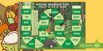 Phase 3 'ai' and 'ee' Words Autumn Woodland Trail Board Game - Autumn, Trail, Game, Phase 3, ai, ee, Letters And Sounds, Phonics, Woodland, forest, owl, badger, sq