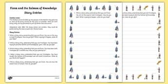 Fionn and the Salmon Of Knowledge Diary Entries Worksheet / Activity Sheets - Irish history, Irish story, Irish myth, Irish legends, Fionn and the Salmon of Knowledge, diary entries, writing, worksheet