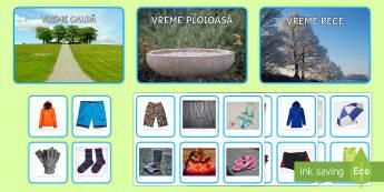 Sortarea hainelor în funcție de vremea de afară Activitate - vremea, îmbrăcăminte, anotimpuri, materiale, activități, jocuri, viața de zi cu zi, Romanian