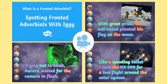 SPaG-Tastic! : Spotting Fronted Adverbials with Iggy (What Is a Fronted Adverbial?) Video - spag, gps, adverbial, year 4, y4, grammar, comma, iggy, ispace, fronted adverbial, Twinkl Go, twinkl go, TwinklGo, twinklgo