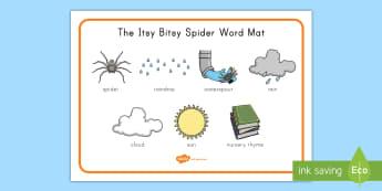 The Itsy Bitsy Spider Word Mat - nursery rhymes, Nursery Rhyme Word Mat, Fingerplay