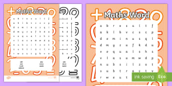 Maths Word Search - NI KS1 Numeracy, maths vocabulary, maths language, word search