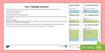 Year 2 Reading Checklist - reading exemplification, assessment, reading targets, guided reading targets, assess, review, tickli