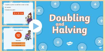 Doubling and Halving PowerPoint - New Zealand, maths, doubling, halving, addition, patterns to 10, numbers to 10