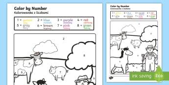 Farm Colour by Numbers English/Polish - Farm Colour by Numbers - colouring, colouring activities, count, numbes, colering, colourby numbers,