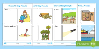 More Simple Sentence Writing Prompt Picture Cards - cvc words, phase 3 writing, hold a sentence, SVO sentences, picture prompts, writing stimulus,
