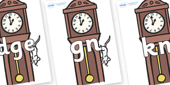 Silent Letters on Clocks - Silent Letters, silent letter, letter blend, consonant, consonants, digraph, trigraph, A-Z letters, literacy, alphabet, letters, alternative sounds