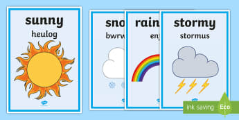 Weather Words Display Posters English/Welsh - sut mae tywydd heddiw, weather, tywydd, welsh, incidental welsh, display, daily routine,Welsh